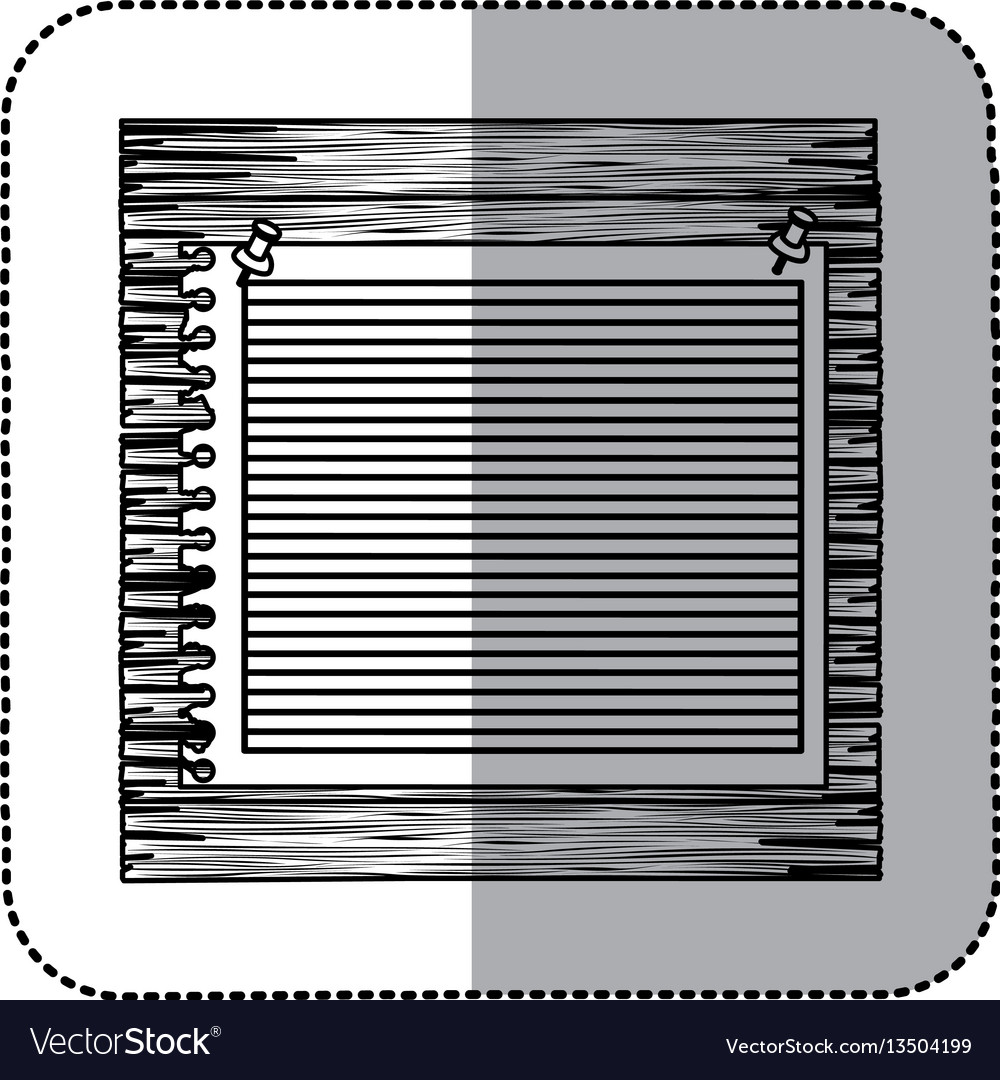 Monochrome sticker of striped notebook sheet in vector image