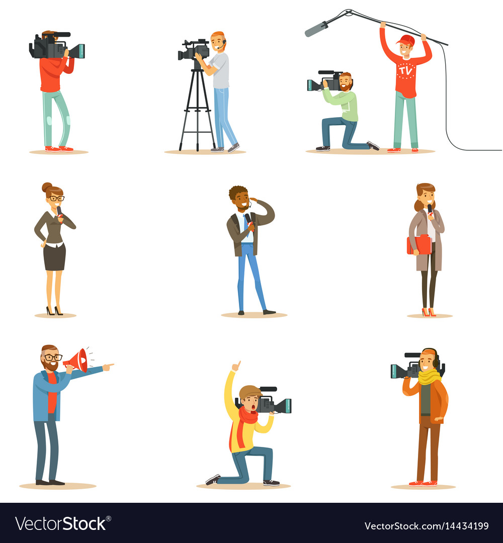 News program crew of professional cameramen and vector image