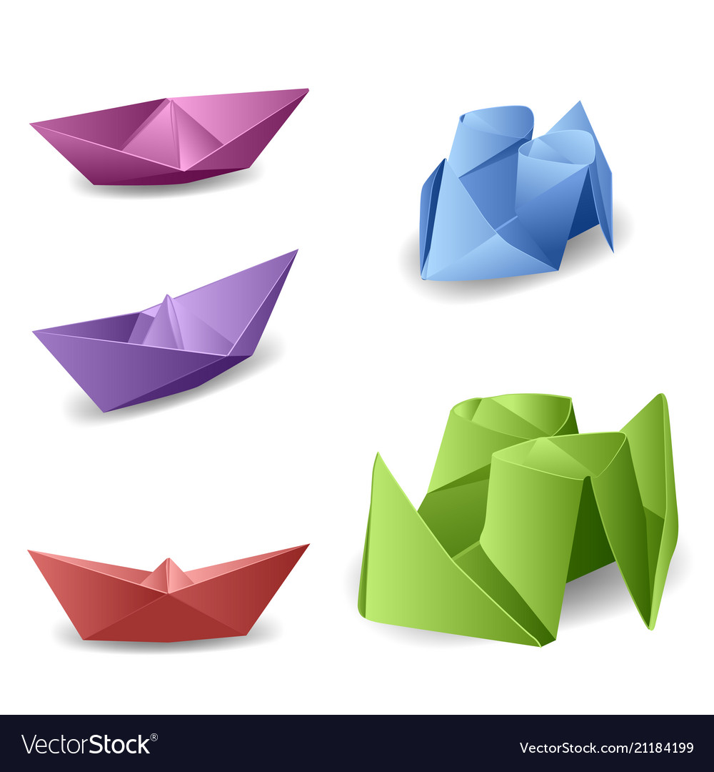 Set With Origami Boats Royalty Free Vector Image