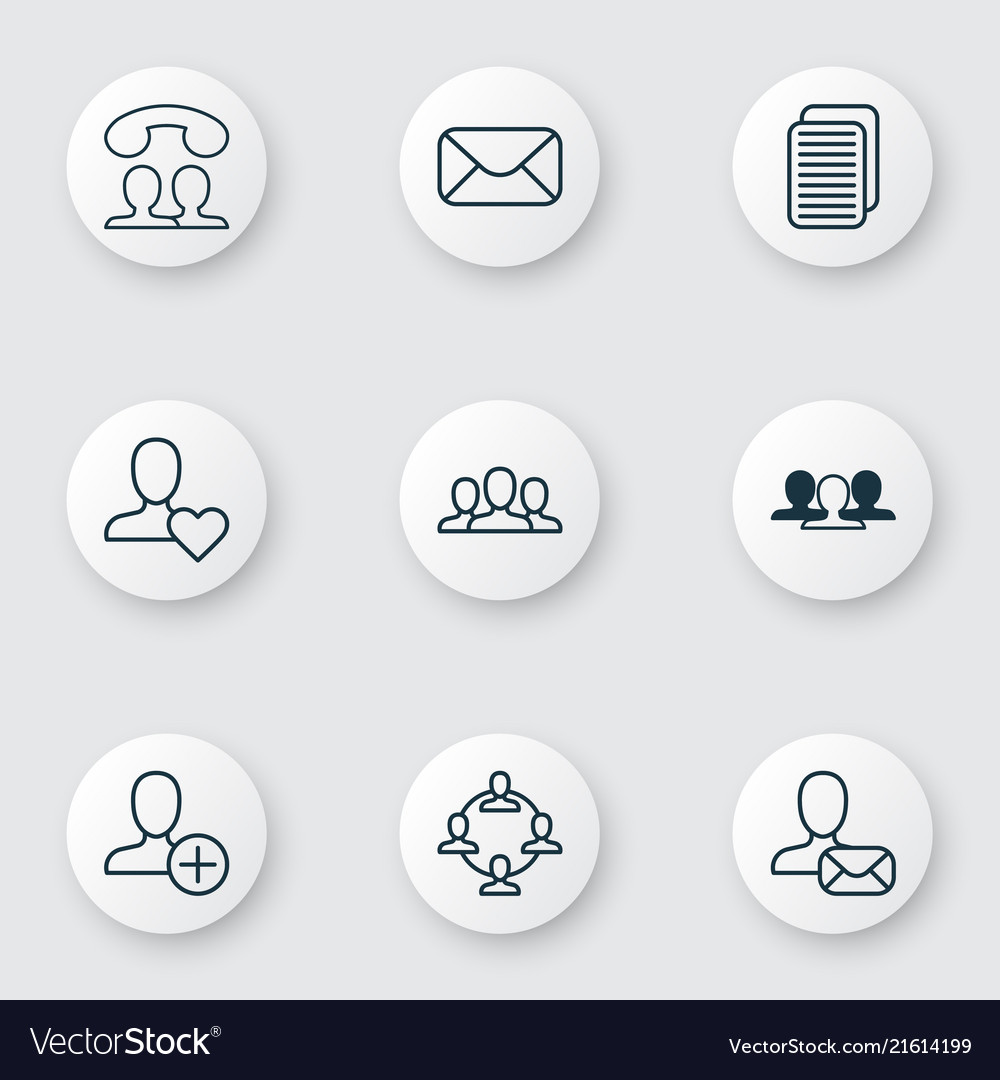 Social icons set with speaking people team