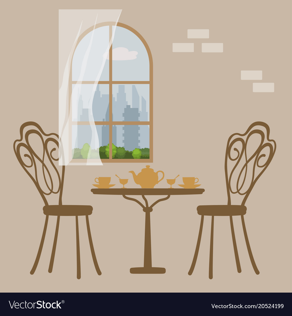 Table In Restaurant Served For Tea Five O Clock Vector Image - Table 41 restaurant