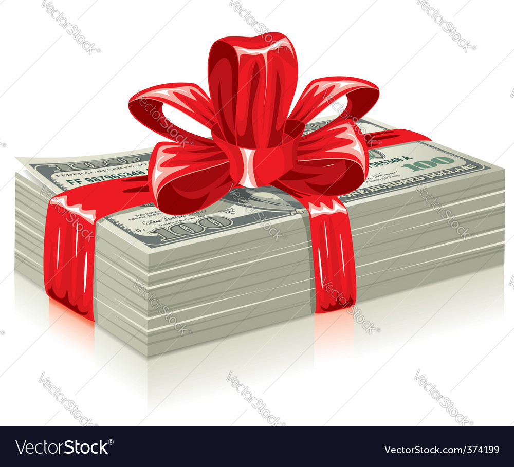Thick bundle of dollars vector image
