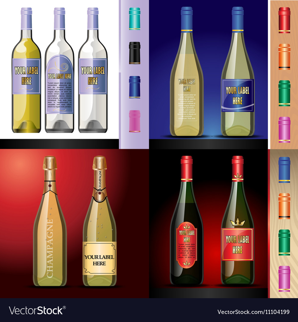 Wine bottles mockup with your label here