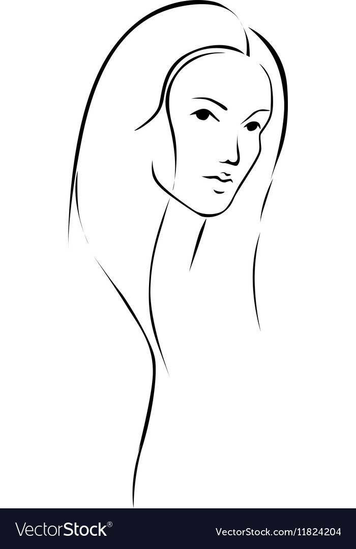 Beautiful young woman with long hair - black line vector image