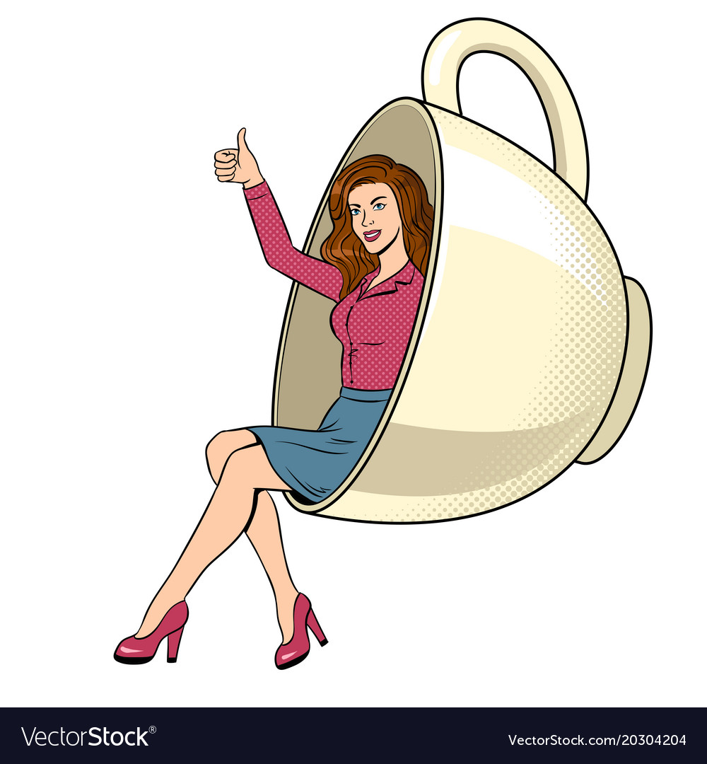 Beauty young woman in coffee cup pop art