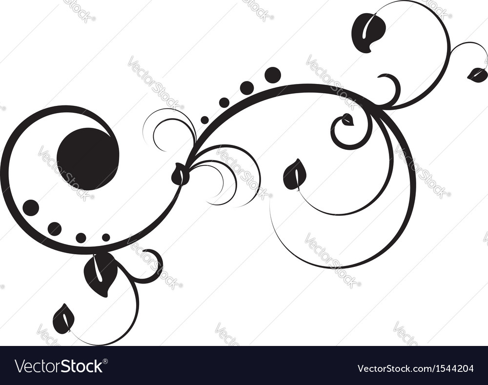 Black floral ornament vector image