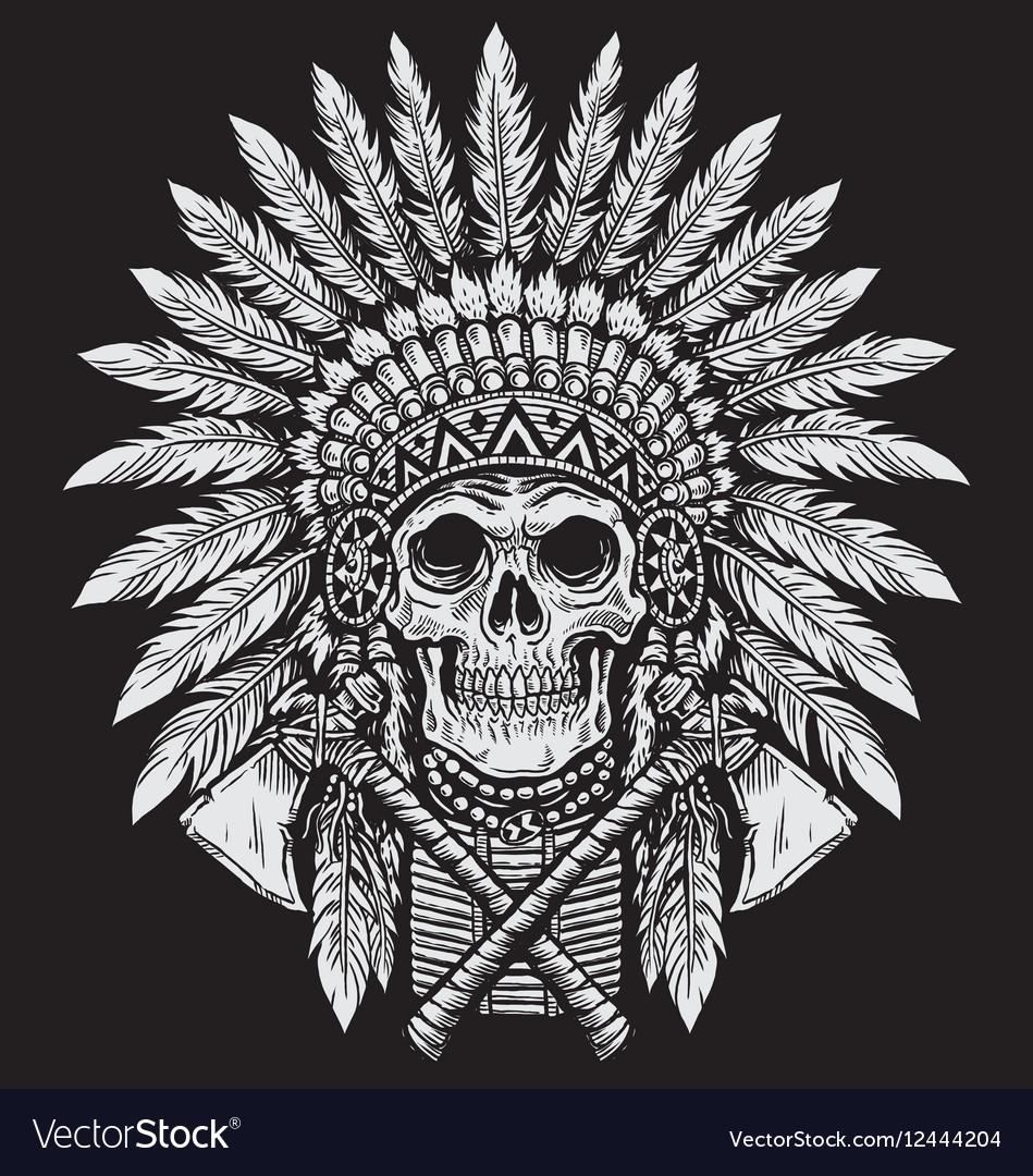 Bold Native American Skull Chief