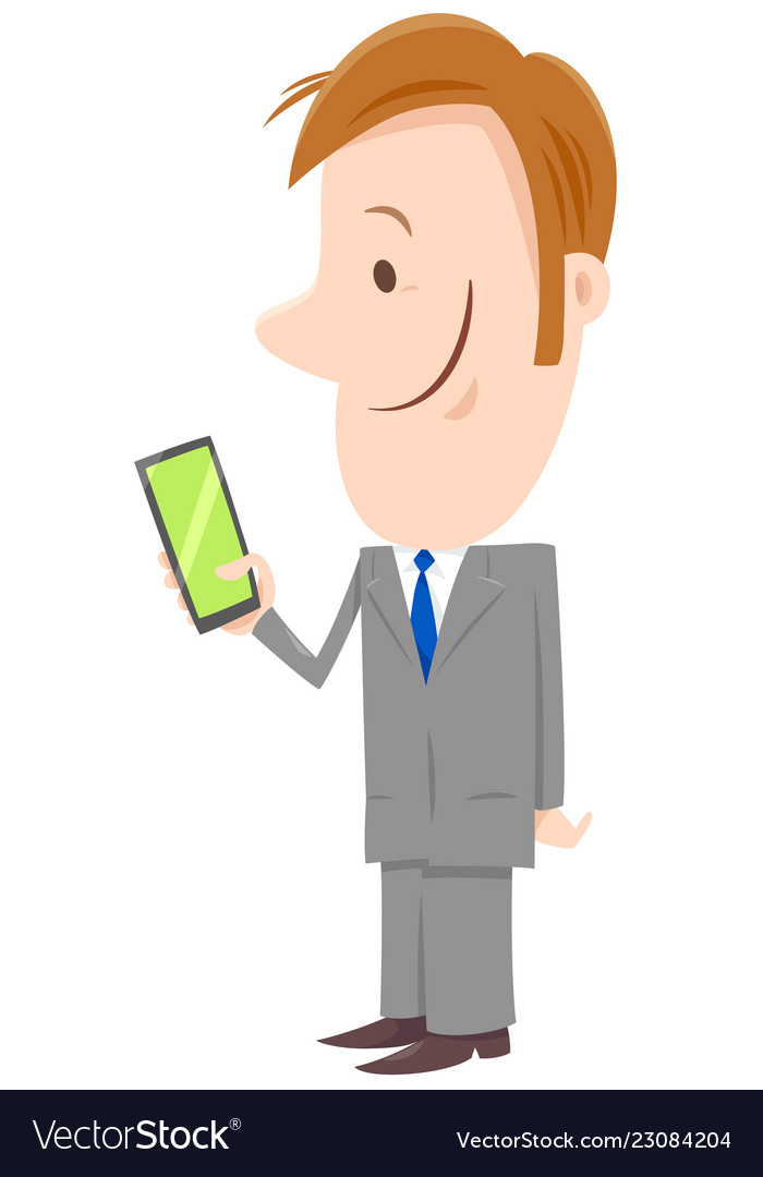 Businessman cartoon character with phone