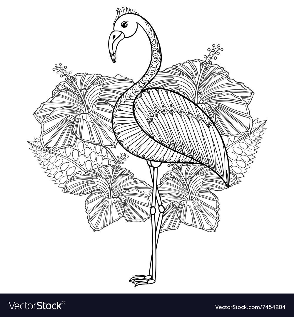 Coloring page with flamingo in hibiskus entangle