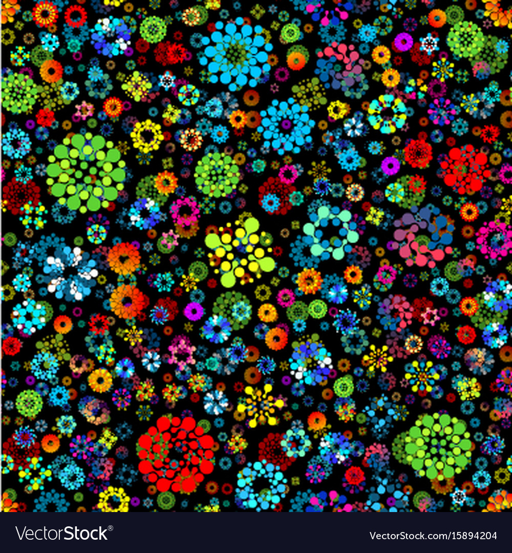 Flower garden abstract seamless circles design