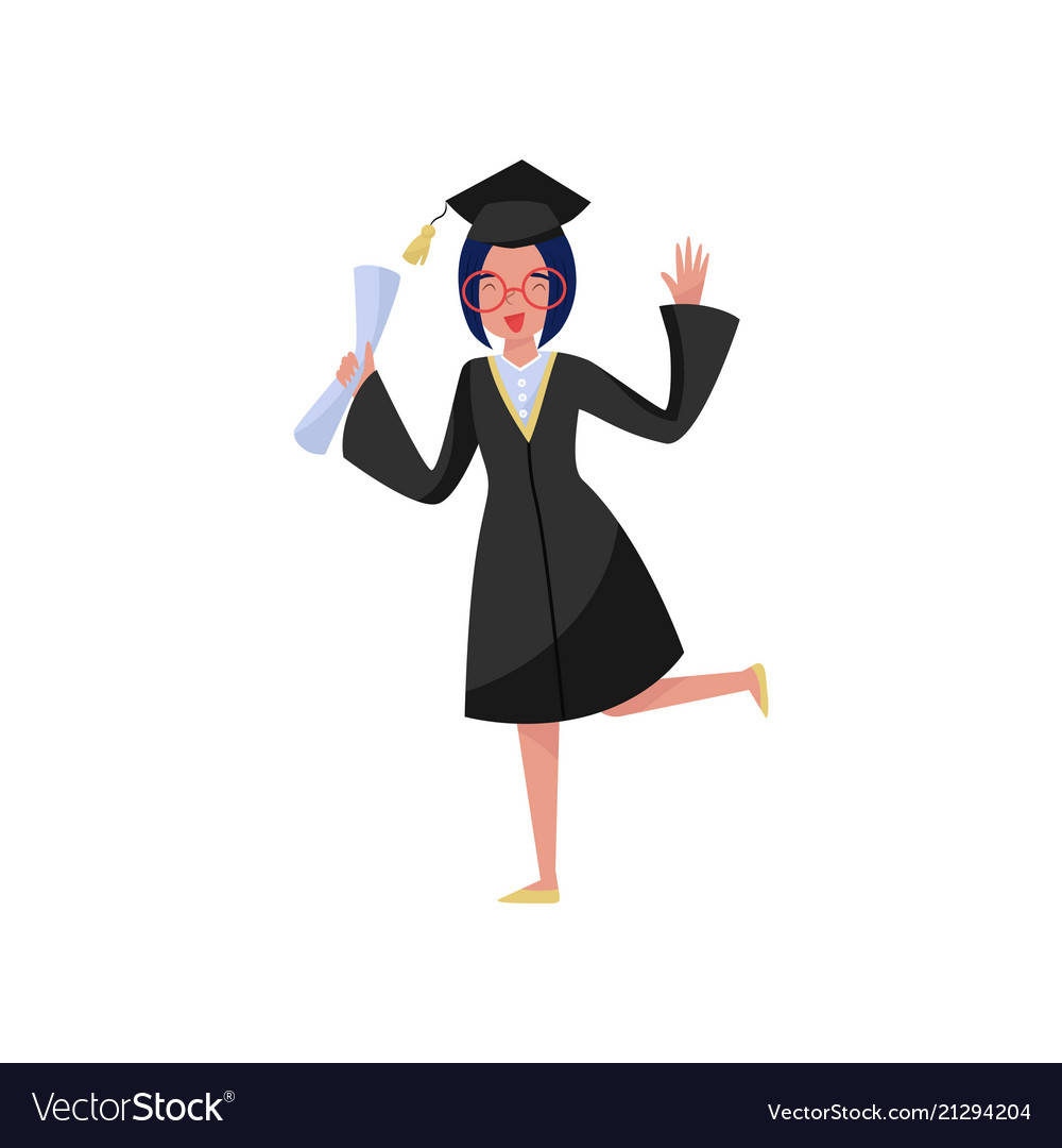 Happy smiling graduate girl in graduation gown Vector Image