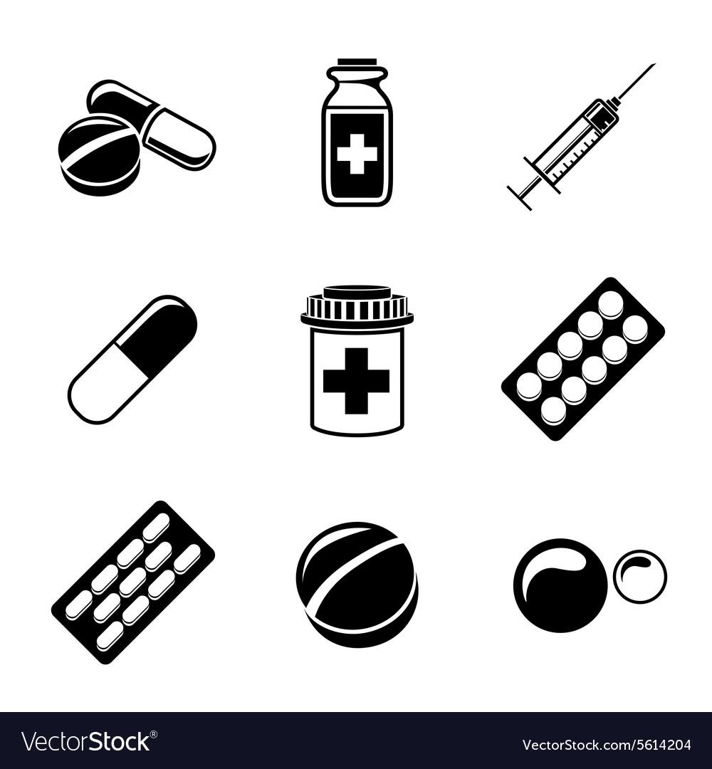 medicine drugs monochrome icons set with pills vector image rh vectorstock com victor pills vector pills review