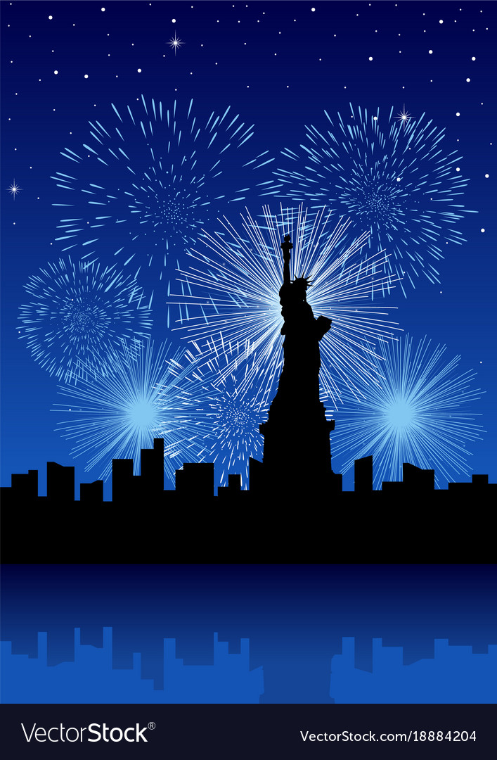 New york city with fireworks