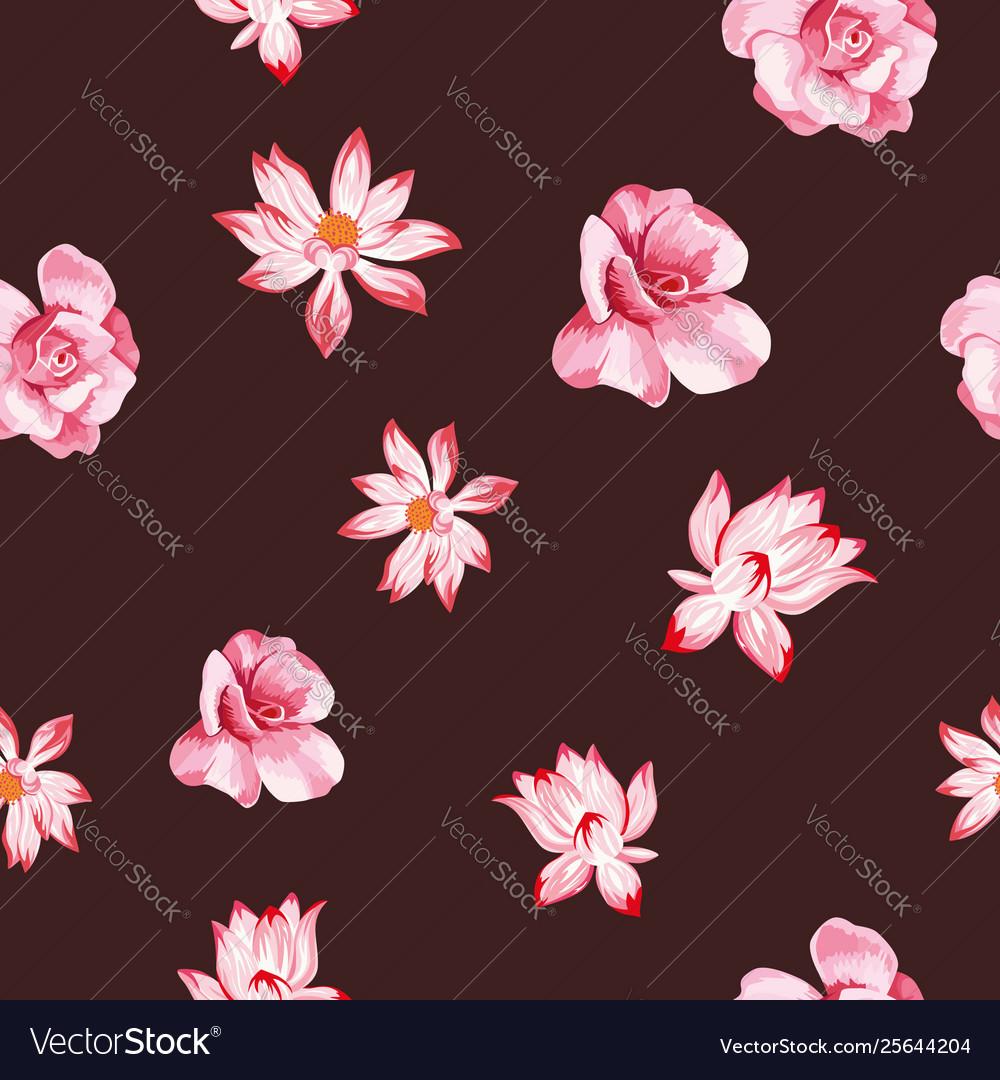 Rose lotus seamless dark red background