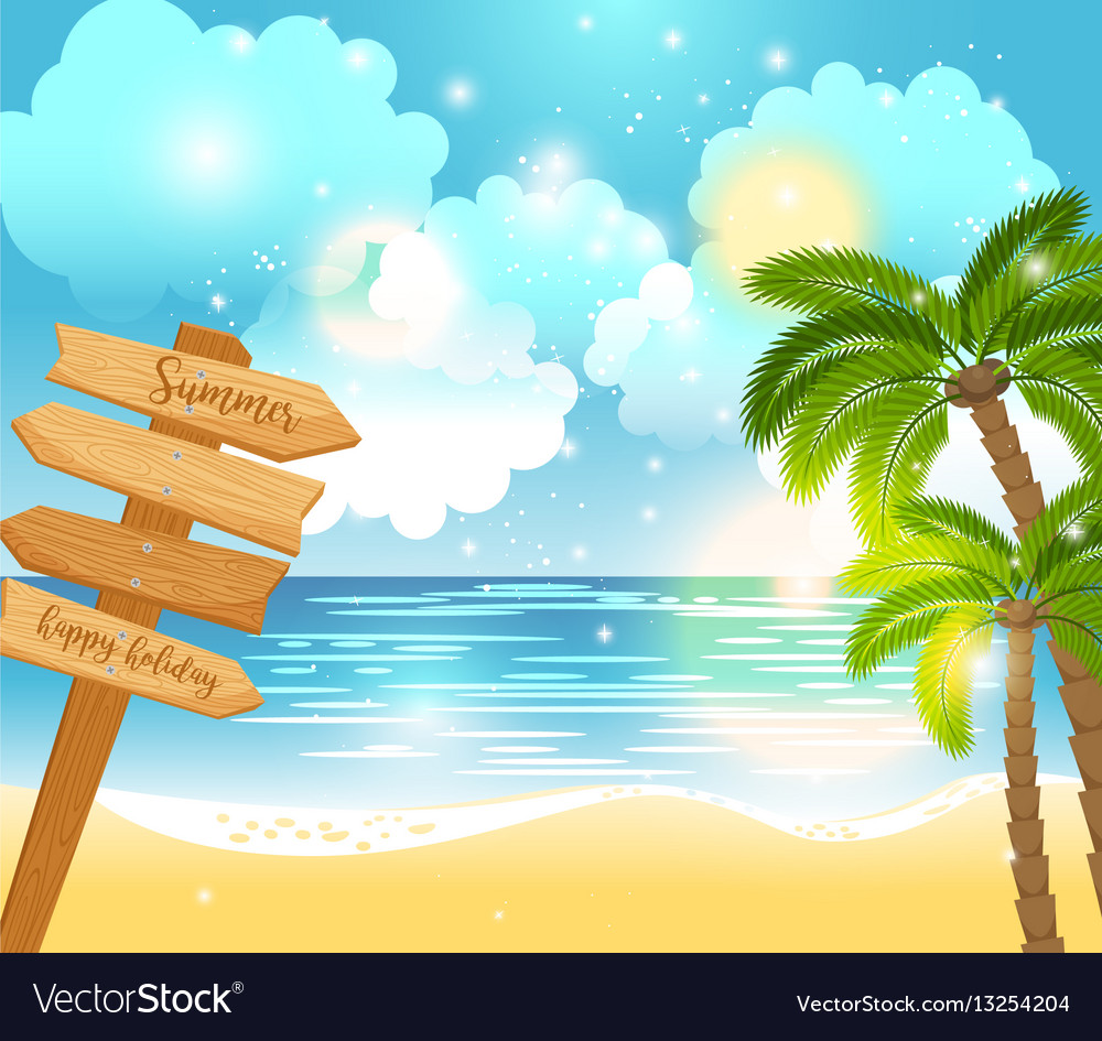 Summer happy holiday landscape vector image