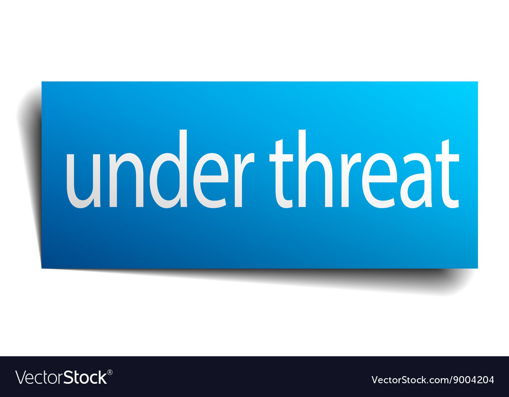 Under threat blue paper sign isolated on white