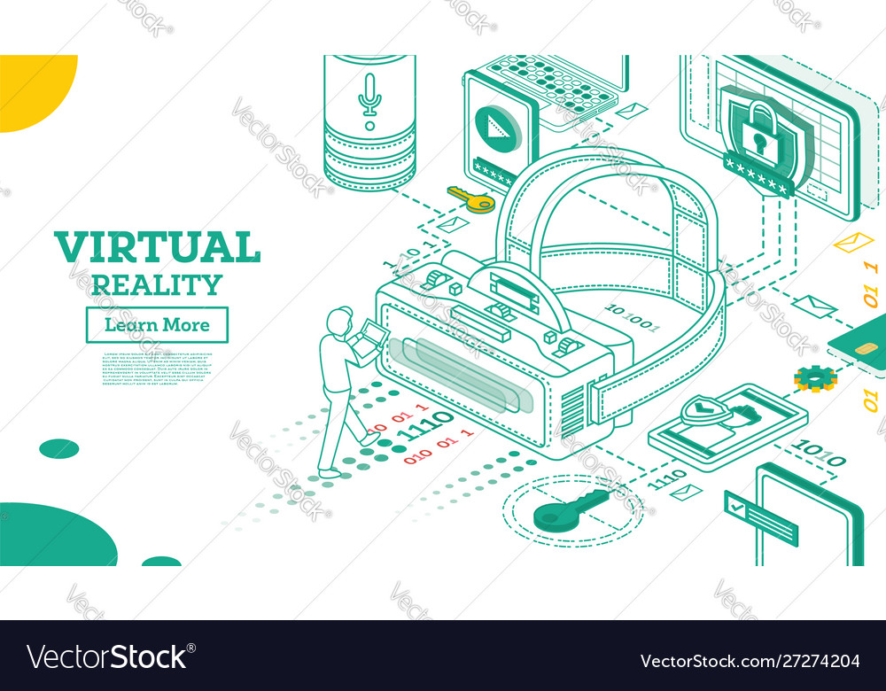 Virtual reality outline 3d isometric concept