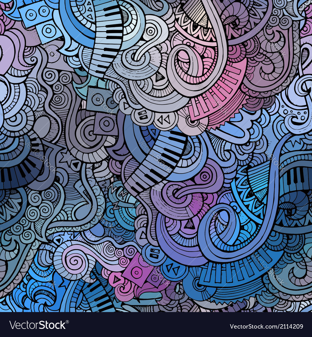Abstract decorative doodles music seamless pattern