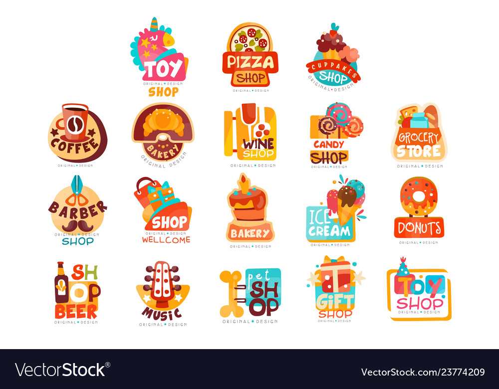 Collection of various shops logo templates set