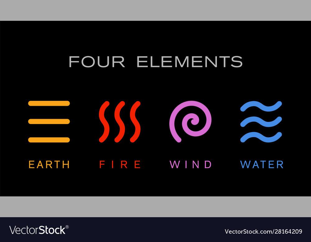 Four elements simple line symbol logo template