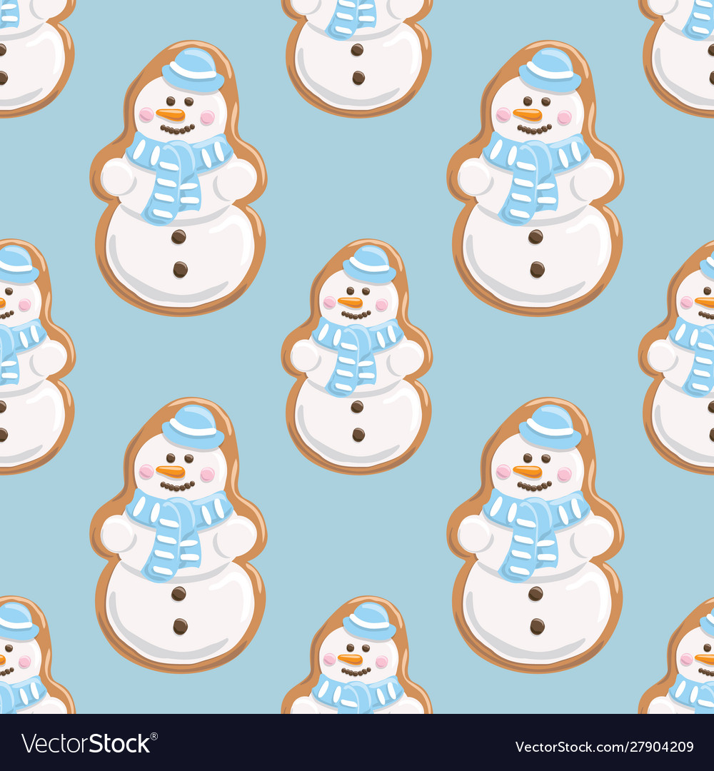 Ginger cookies seamless pattern christmas