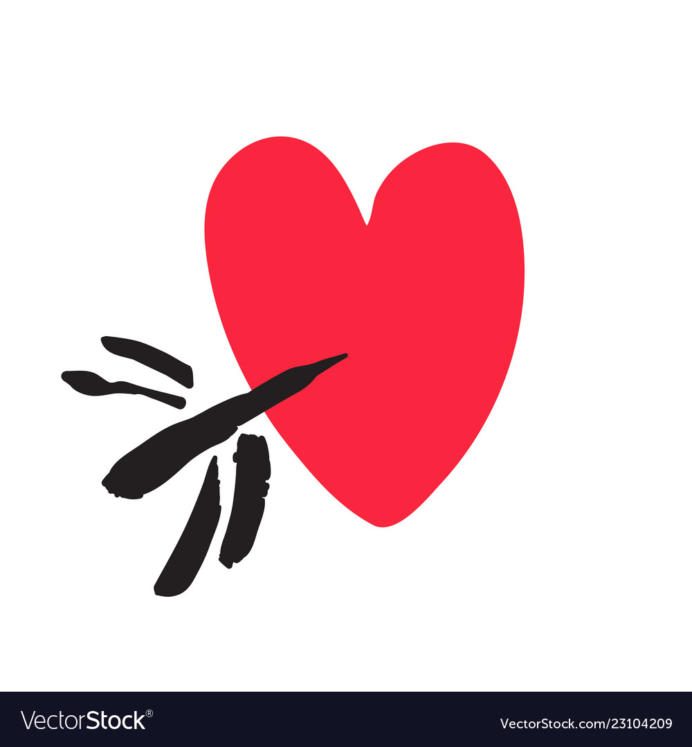Hand drawn red heart pierced arrow valentines