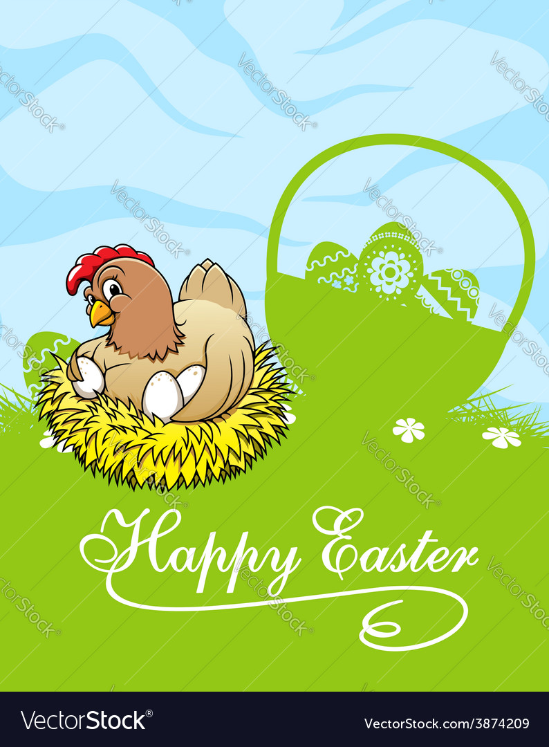 Happy easter card with hen and basket with easter