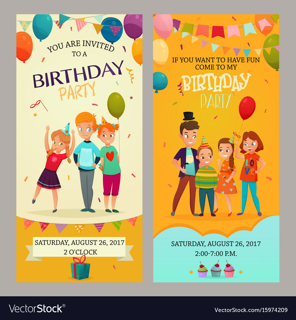 Kids party invitation banners set royalty free vector image kids party invitation banners set vector image stopboris Images