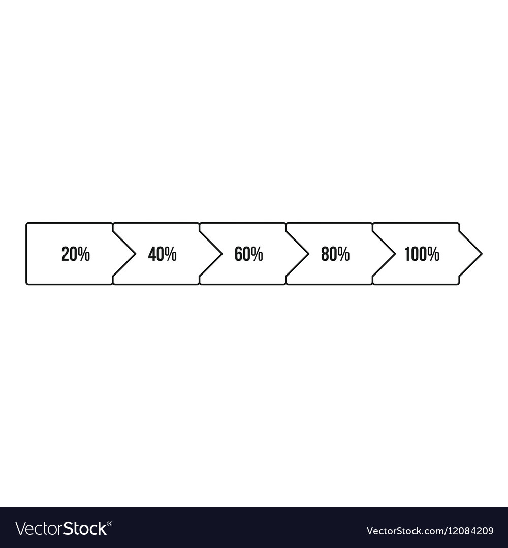 Percentage diagram icon outline style vector image