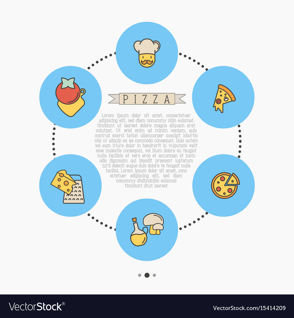 Pizza concept with thin line icons for menu design