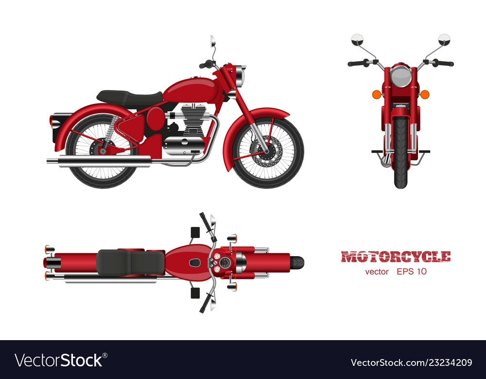Retro classic motorcycle in realistic style