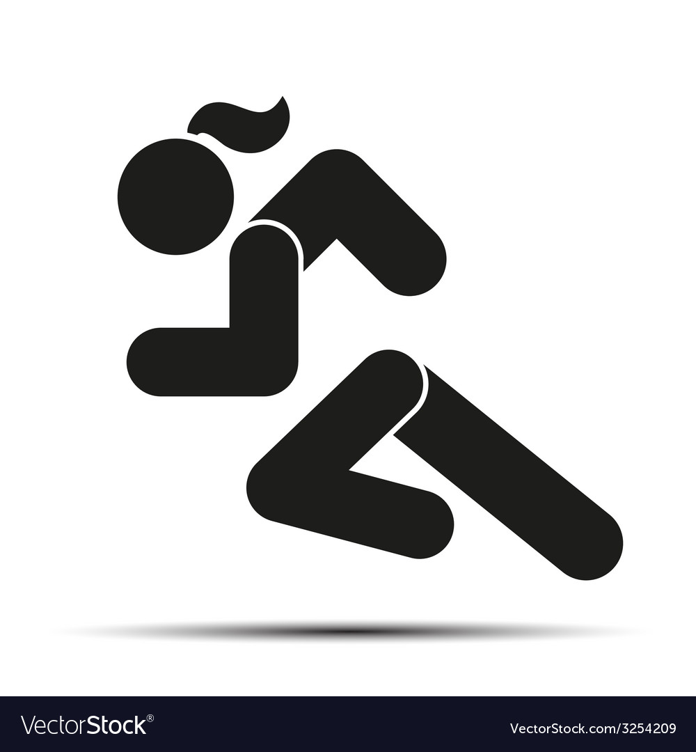 Running woman simple symbol of run isolated on a vector image