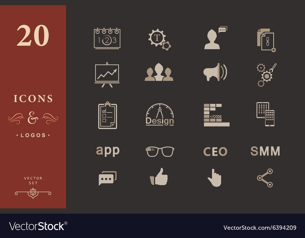 Set of modern icons app seo smm