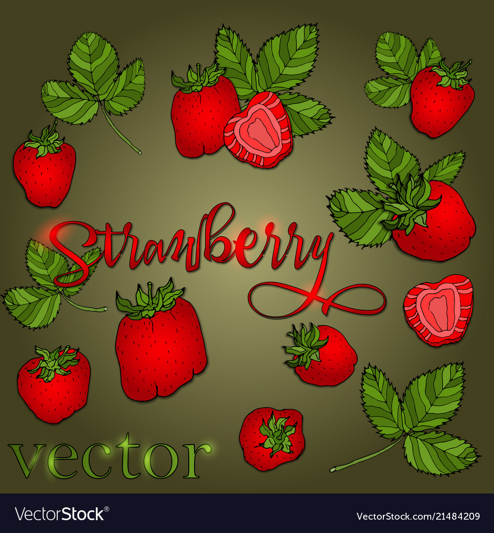 Set of strawberries of different shapes