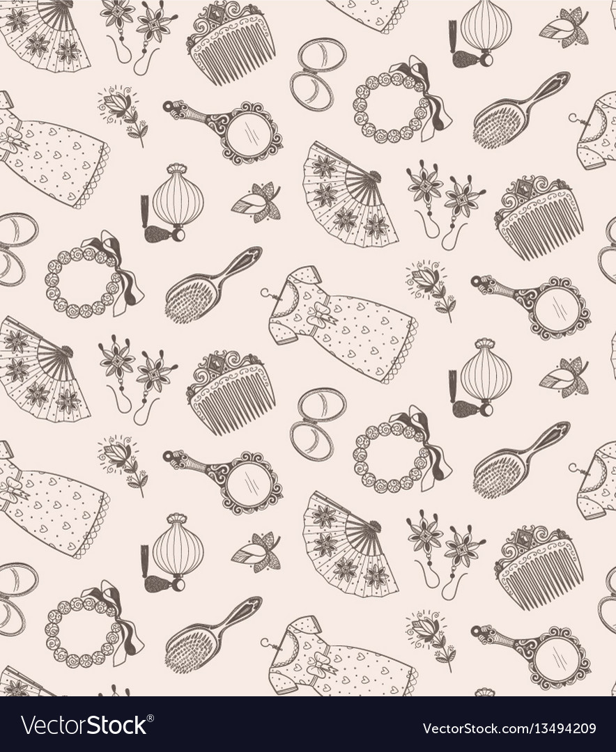 Sketch beauty and fashion items vector image