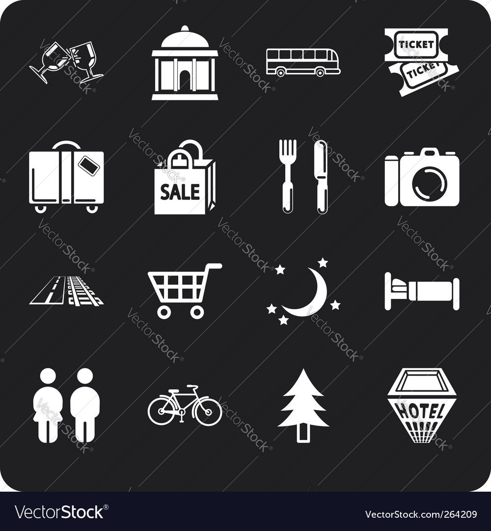 Tourism and city icons vector image