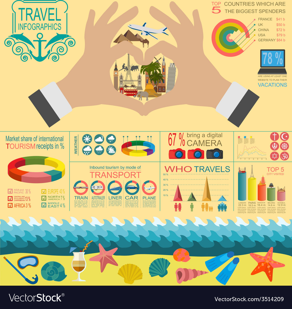 Travel Vacations Beach resort infographics