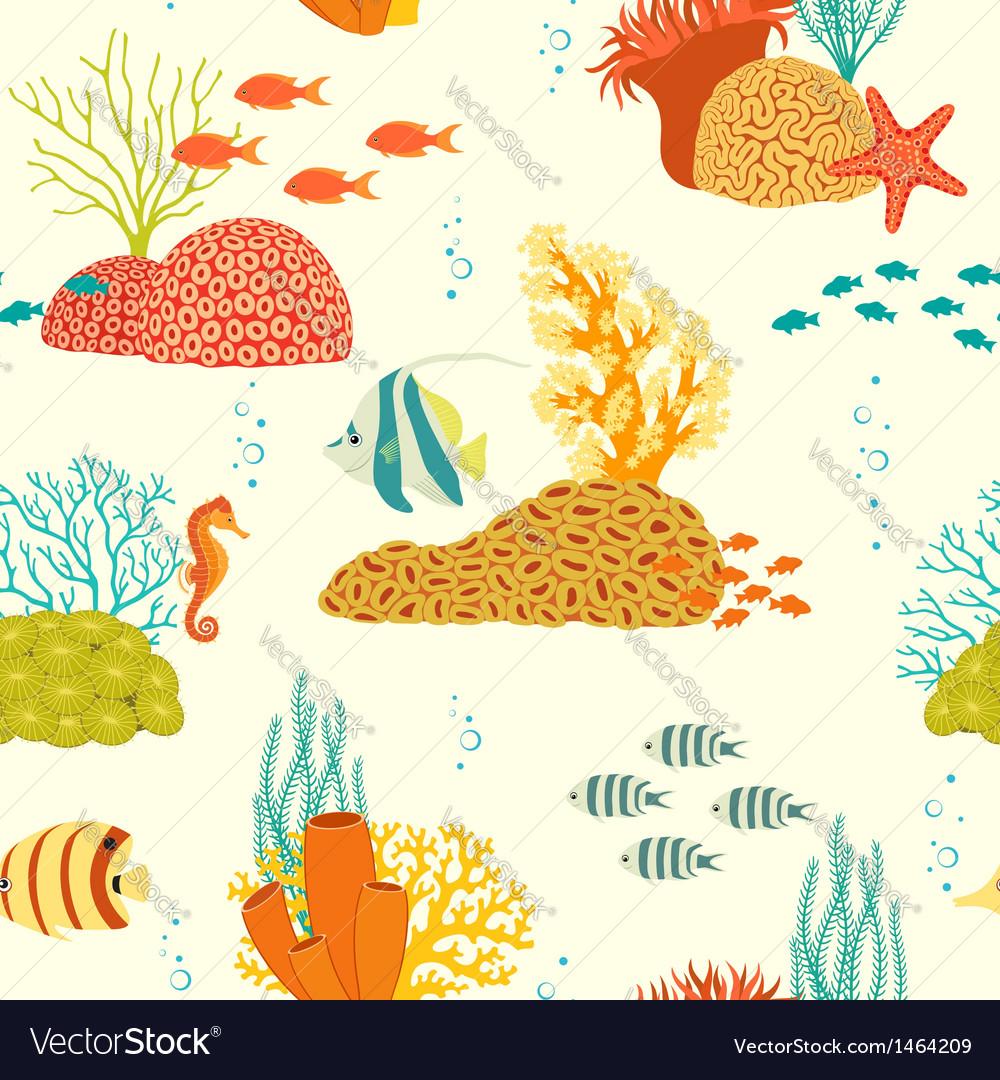 Underwater life pattern on light background