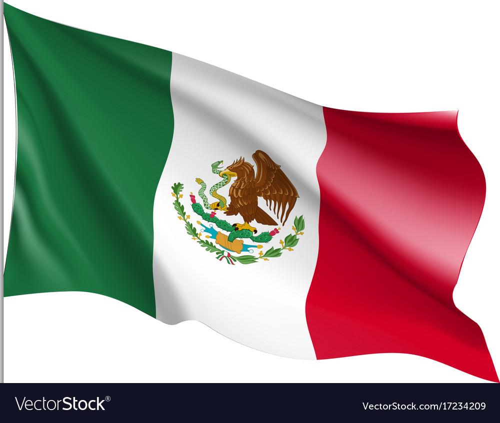 Waving flag of mexico Royalty Free Vector Image