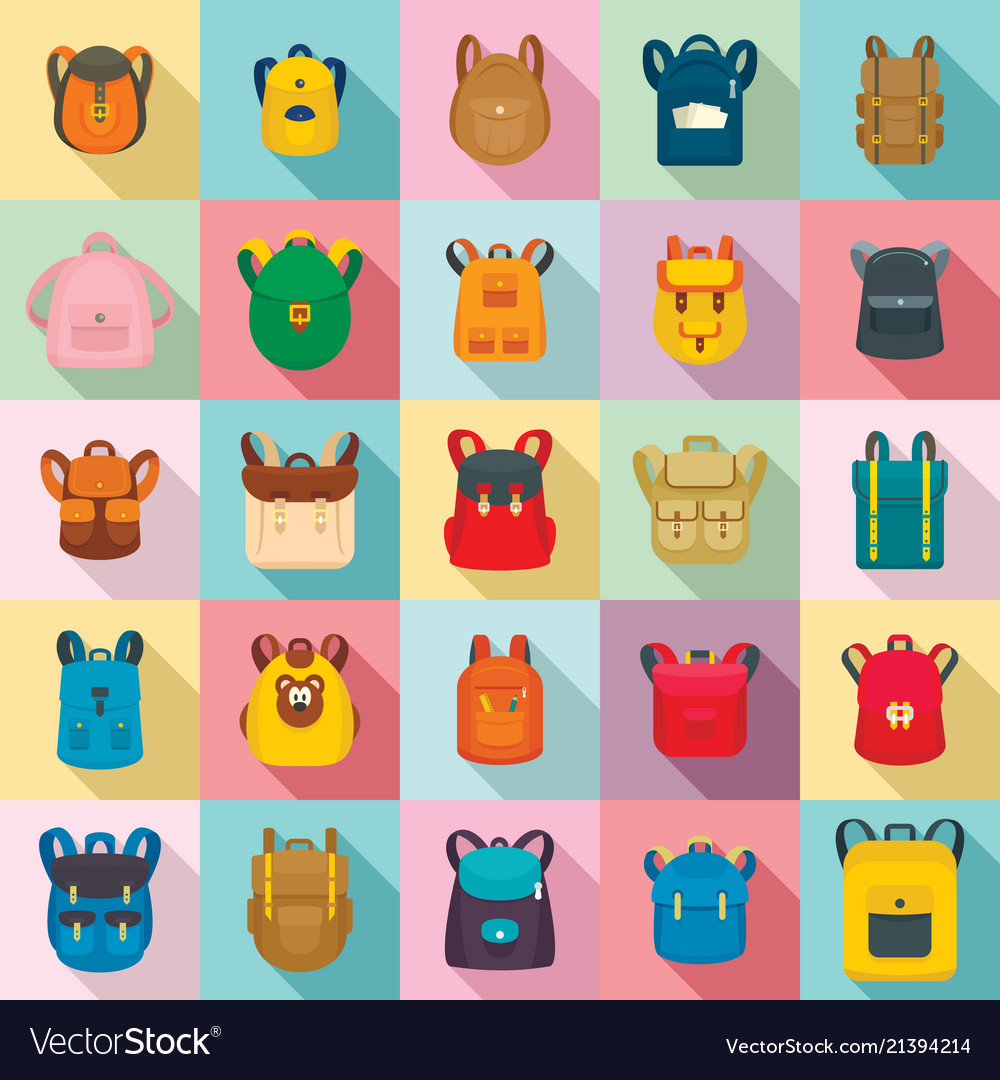 77d1214a405b Backpack school travel sport icons set flat style Vector Image
