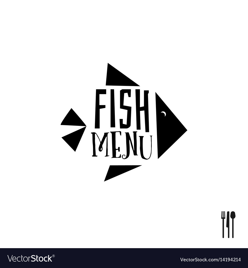Fish menu with cutlery sign