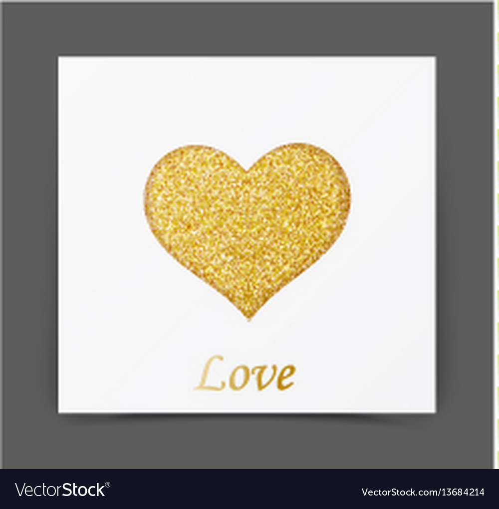 Gold sparkles card with heart shape vector image