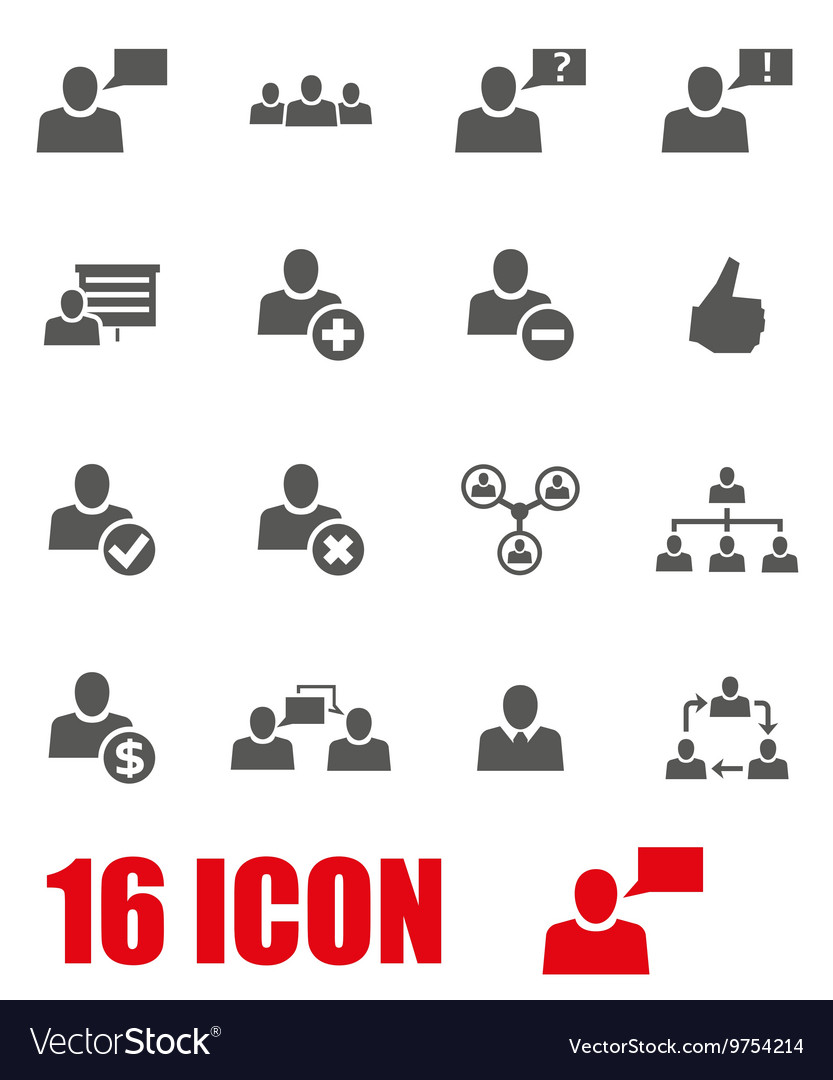 Grey office people icon set