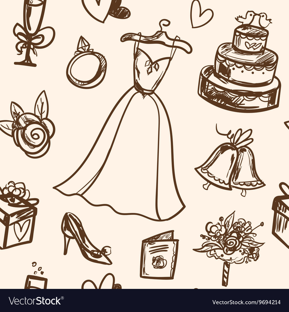 Hand drawn seamless pattern wedding accessories