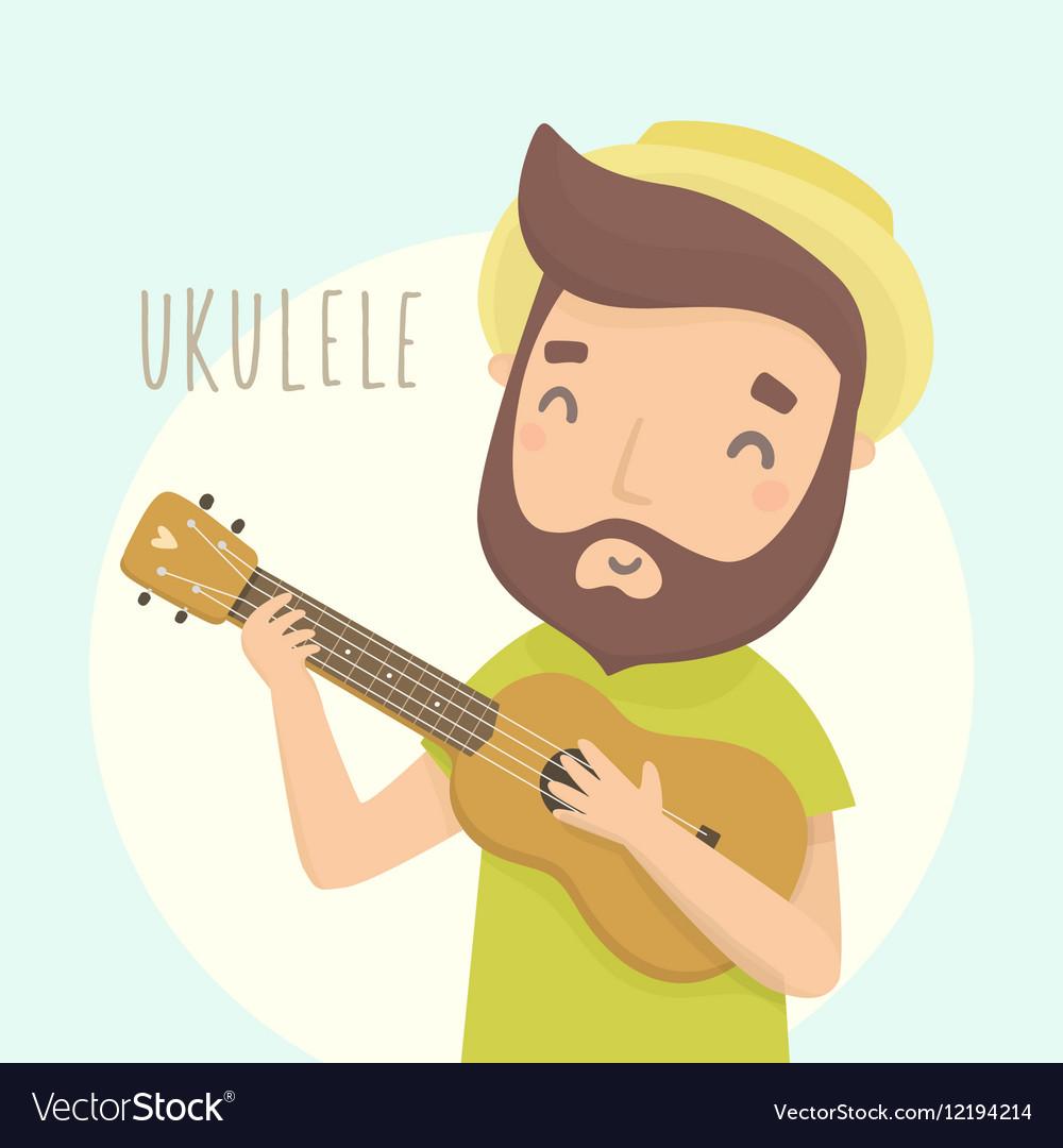 Happy guy with ukulele Cartoon character