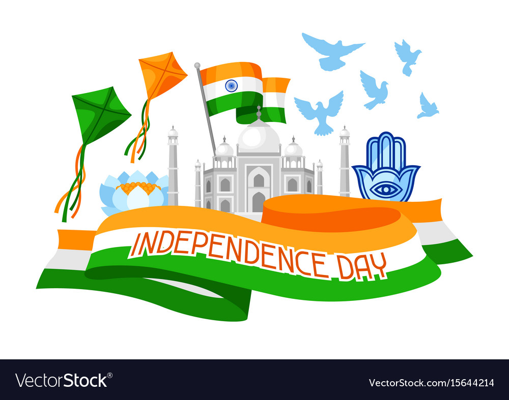 India independence day greeting card celebration vector image m4hsunfo