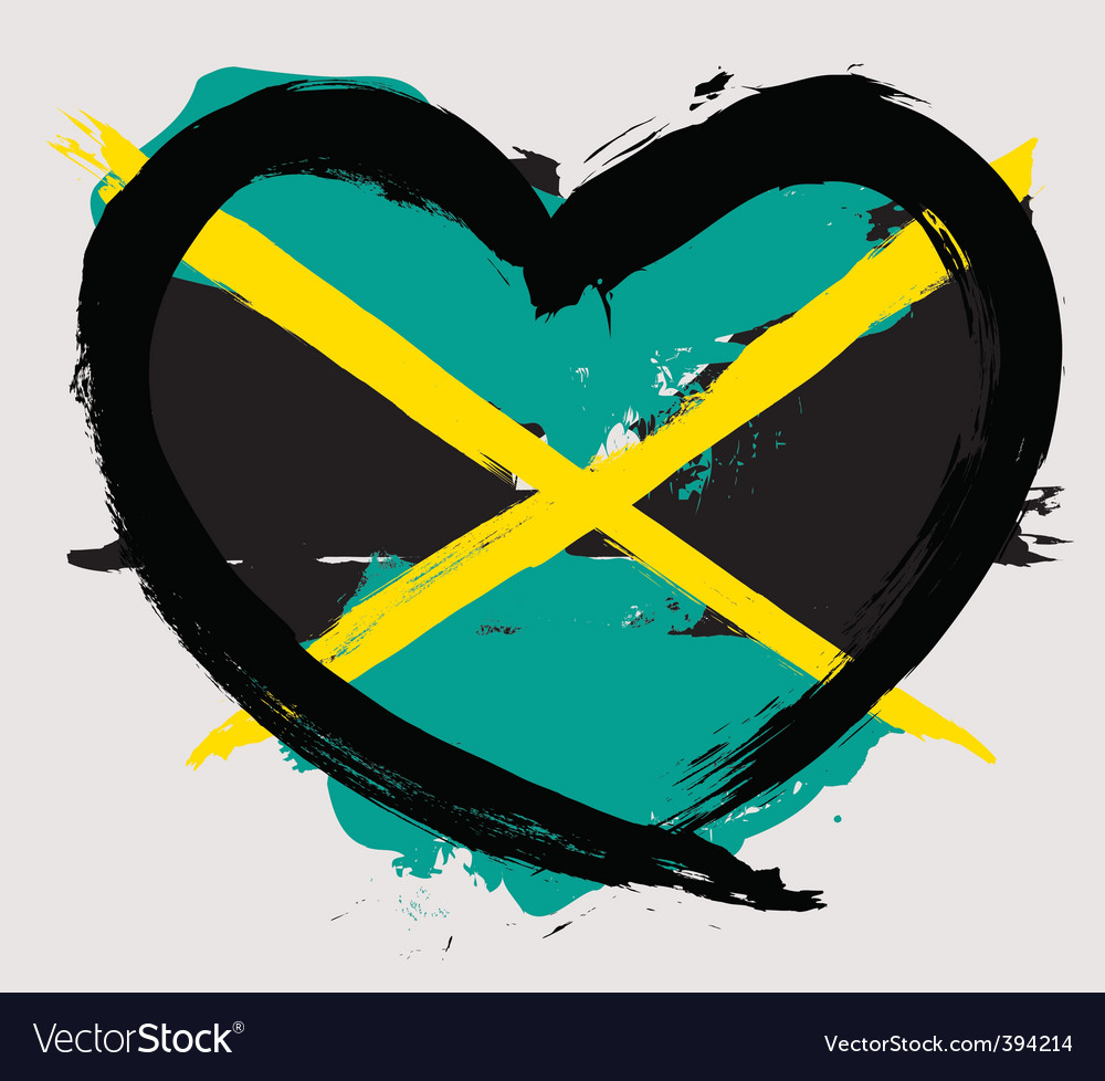 Jamaica heart shape flag