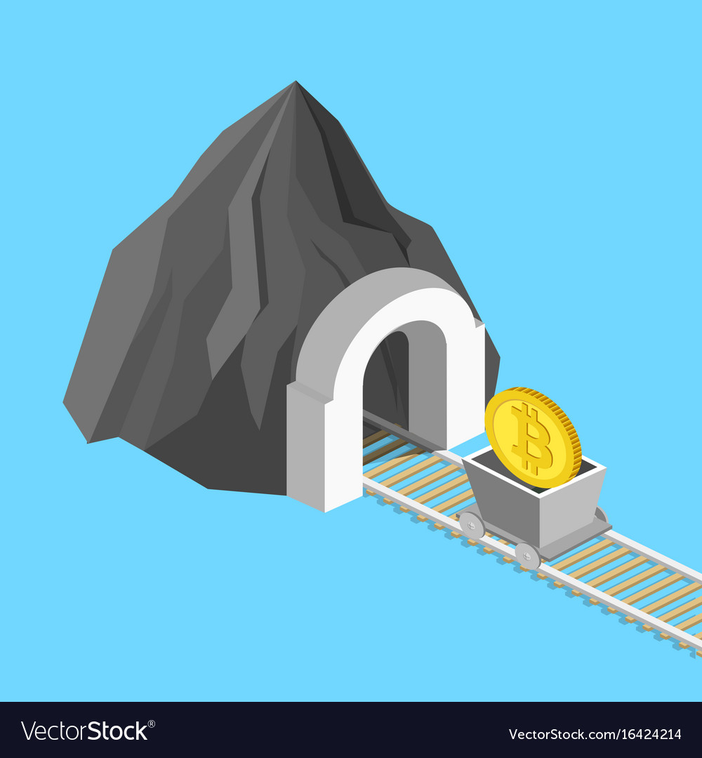 Metaphor for bitcoin mining isometric vector image