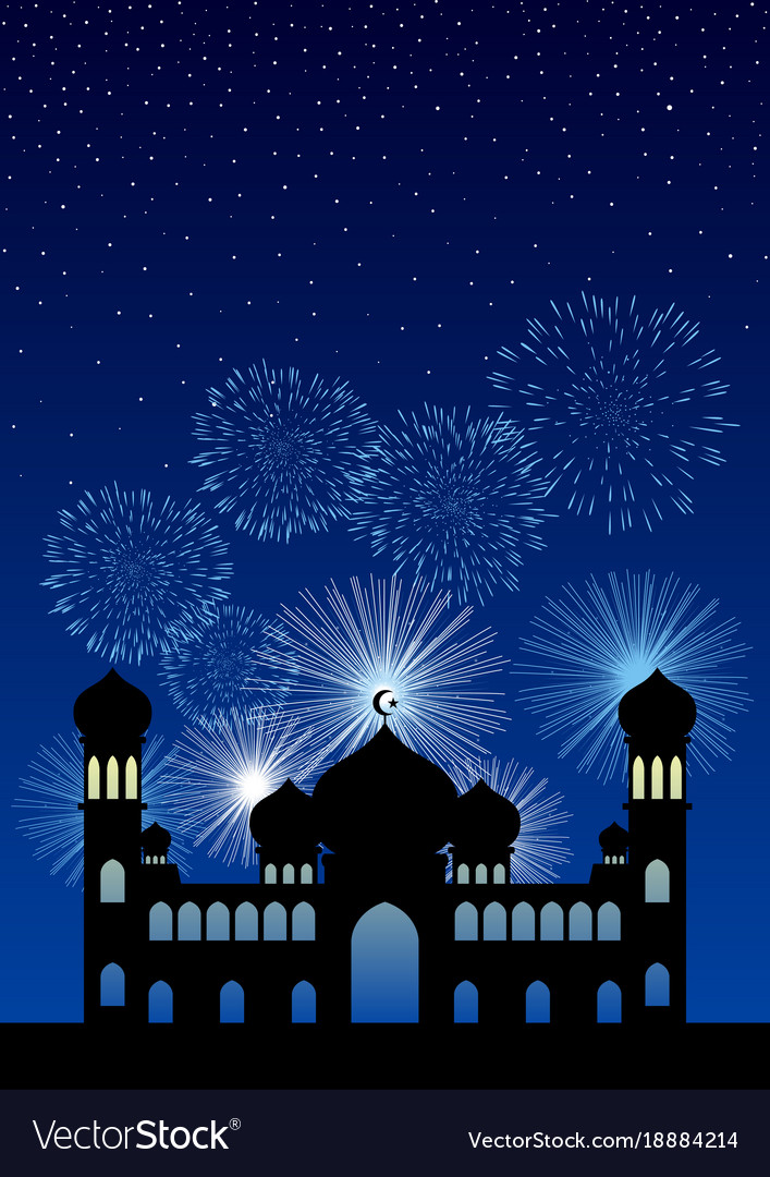 mosque and fireworks background royalty free vector image vectorstock
