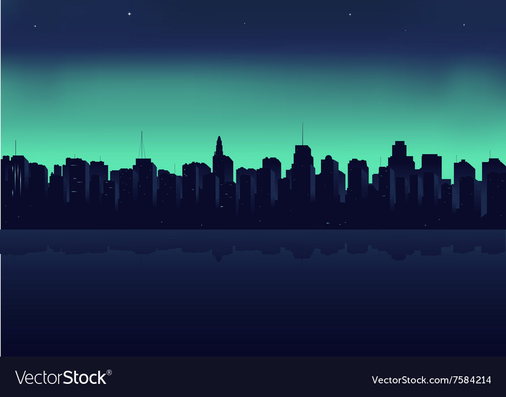Night city on a background an ocean